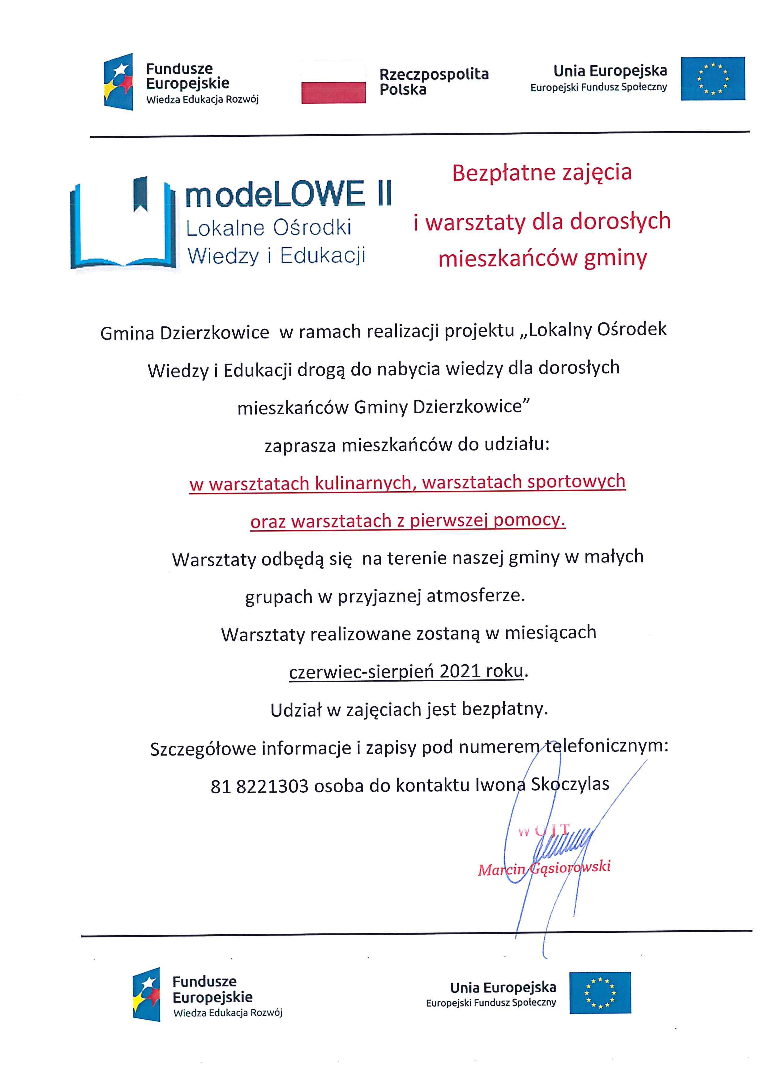 modeLOWE II zaprasza mieszkańców Gminy dzierzkowice do udziału w warsztatach kulinarnych, warsztatach sportowych oraz warsztatach z pierwszej pomocy