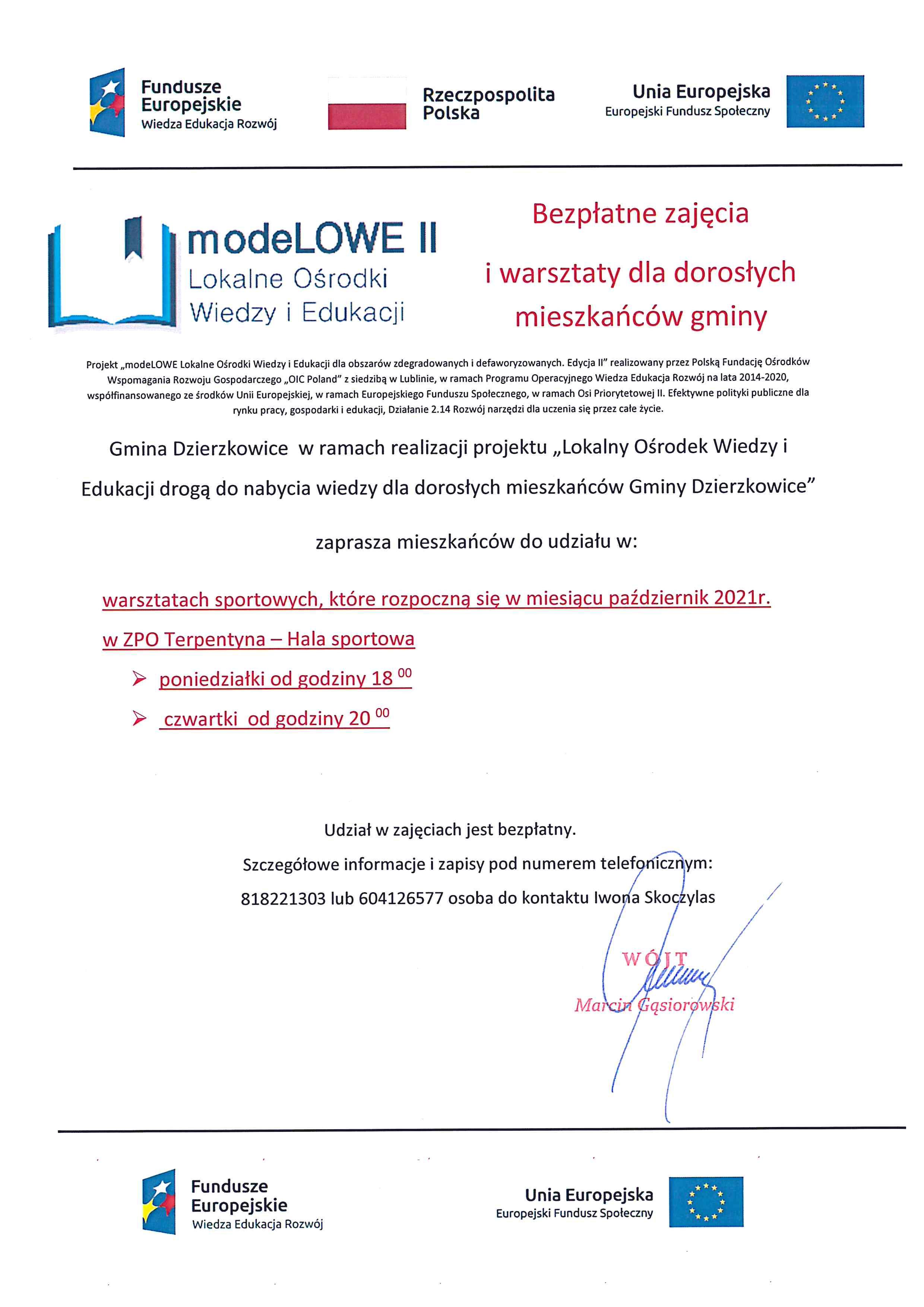 modeLOWE II zaprasza mieszkańców Gminy Dzierzkowice do udziału w warsztatach