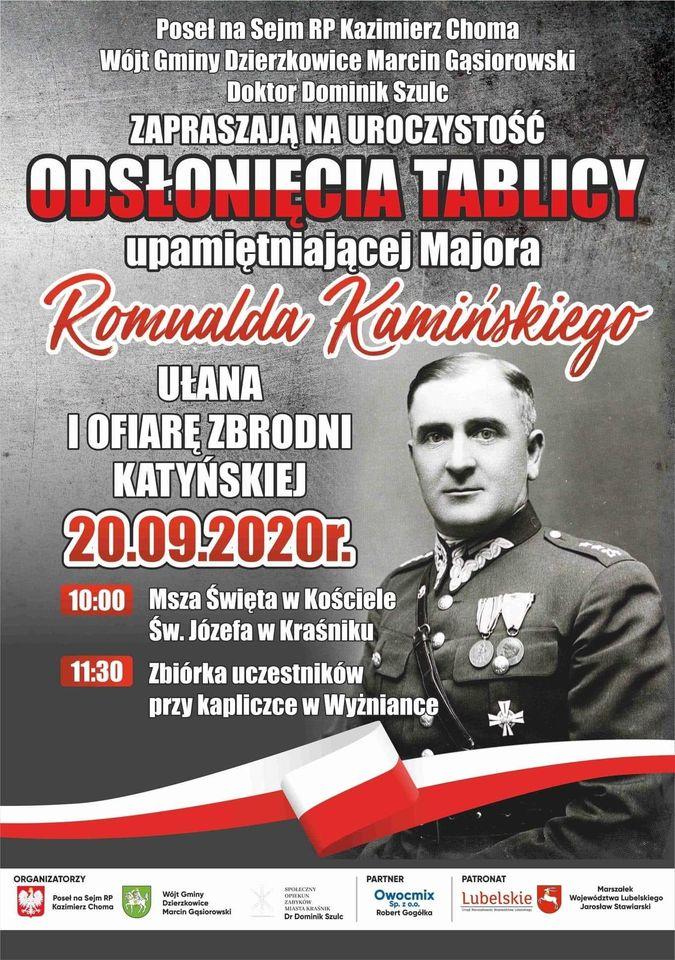 Uroczystość odsłonięcia tablicy upamietniającej Majora Romualda Kamińskigo