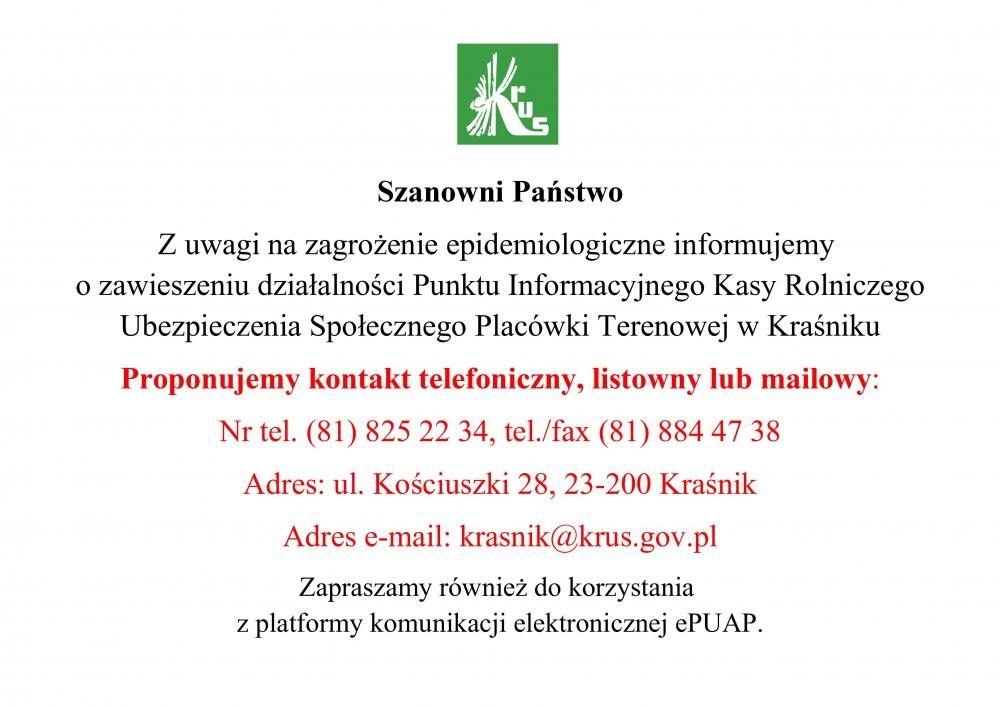 Informacja KRUS - zdjęcie