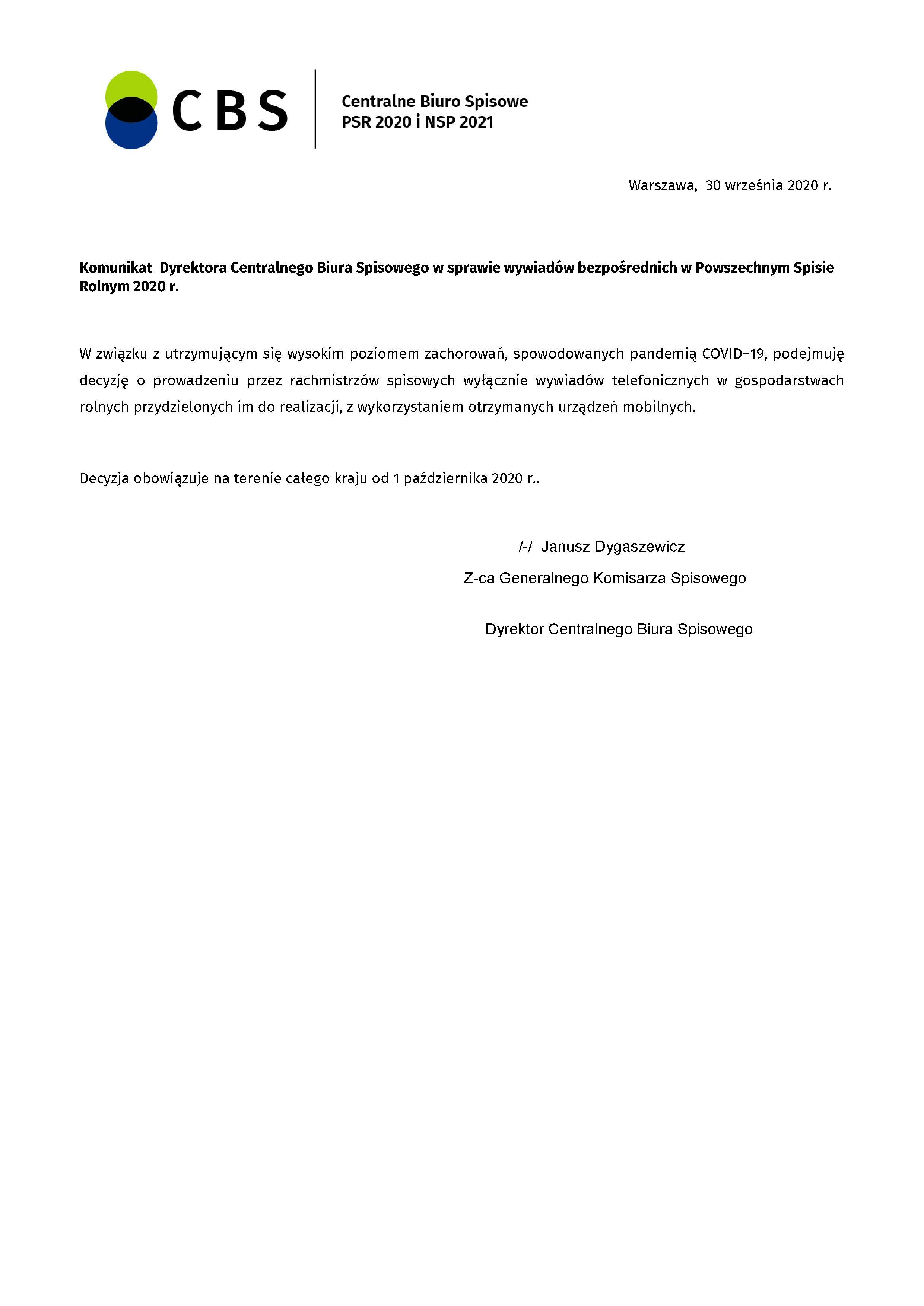 PSR 2020 - Komunikat Dyrektora CBS w sprawie sposobu prowadzenia wywiadów