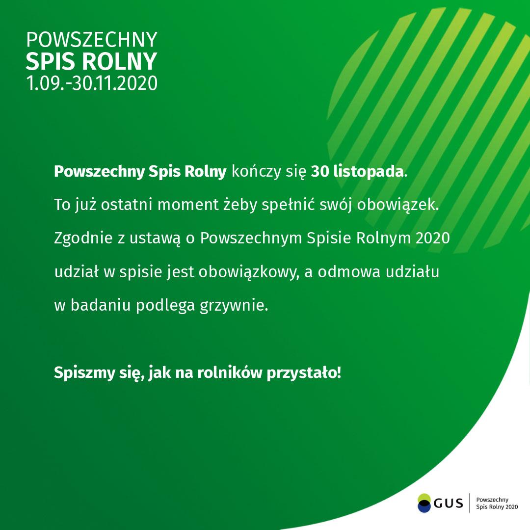 PSR 2020 - zakończenie spisu 30 listopada 2020