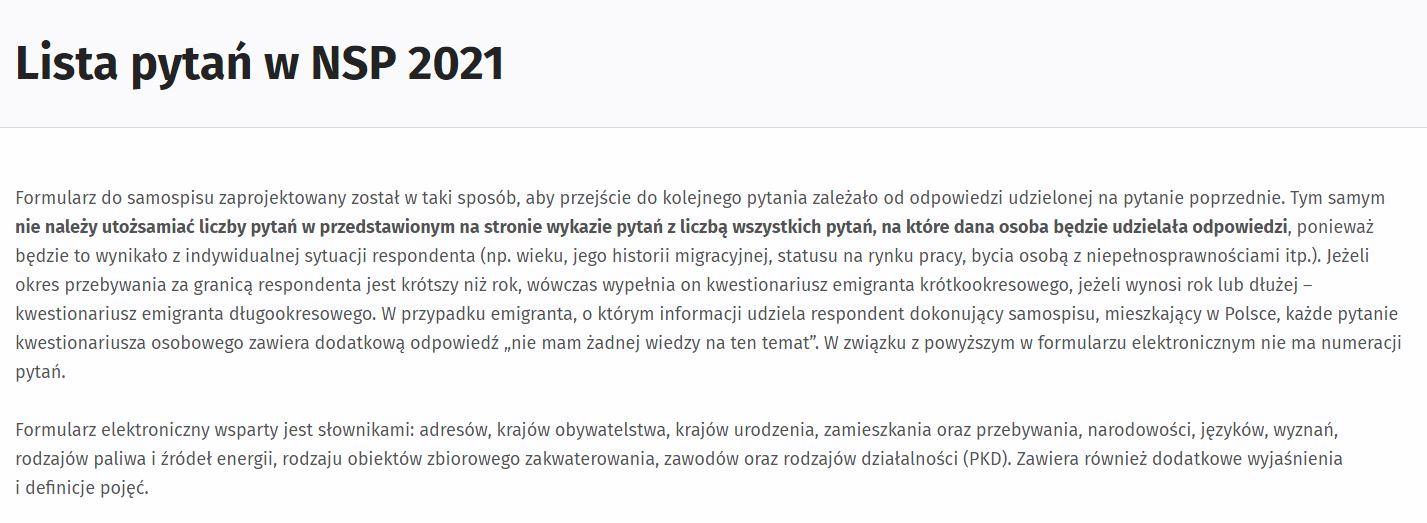 NSP 2021 - udostępnienie pytań spisowych na stronie