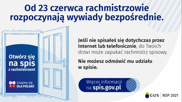 NSP 2021 - informacja o rozpoczęciu wywiadów bezpośrednich od 23 czerwca