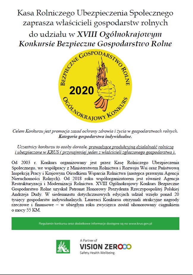 KRUS zaprasza właścicieli gospodartw rolych do udziału w XVIII Ogólnokrajowym Konkursie Bezpieczne Gospodarstwo Rolne