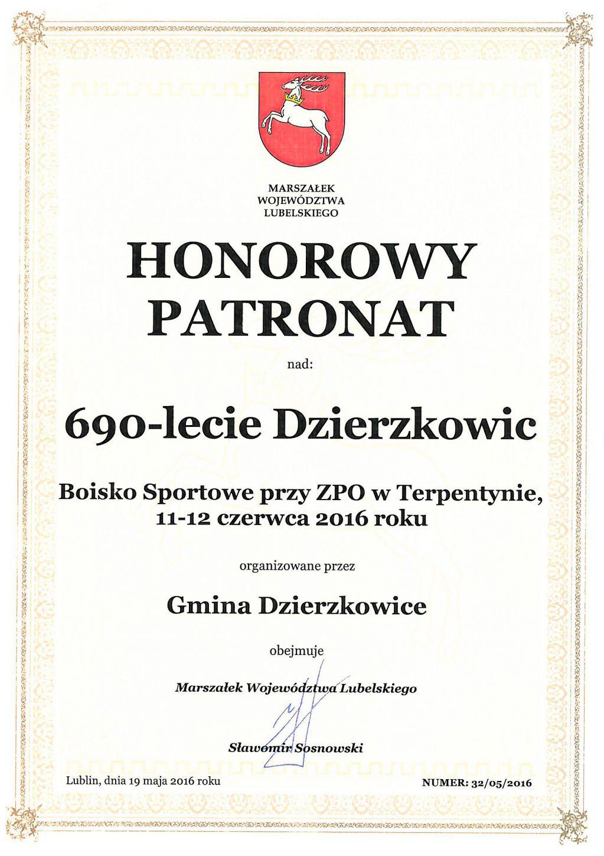 Patronaci honorowi obchodów 690-lecia Gminy Dzierzkowice