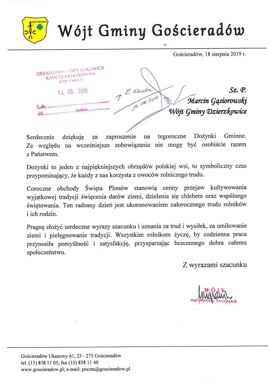 Wójt Gminy Gościeradów Mariusz Szczepanik