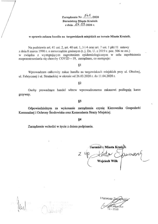 Zarządzeni Burmistrza miasta Kraśnik w sprawie zakazu handlu na targowiskach na terenie Miasta Kraśnik.