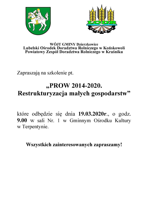 """Szkolenie pt:""""PROW 2014-2020 Restrukturyzacja małych gospodarstw"""""""